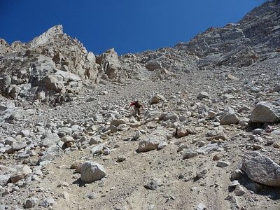 Mike negotiating the almost intolerable scree.  I had no poles with me, so it was even worse.