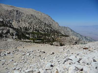 Looking down the scree field.