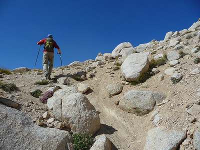 Mike at the top of the scree field.