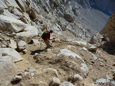 Mike heading down the scree field.