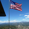 Flag flying over the Bald Mountain Lookout.