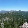 Granite Knob summit view.<br /> <br /> Peak 9021 and Jackass Peak.