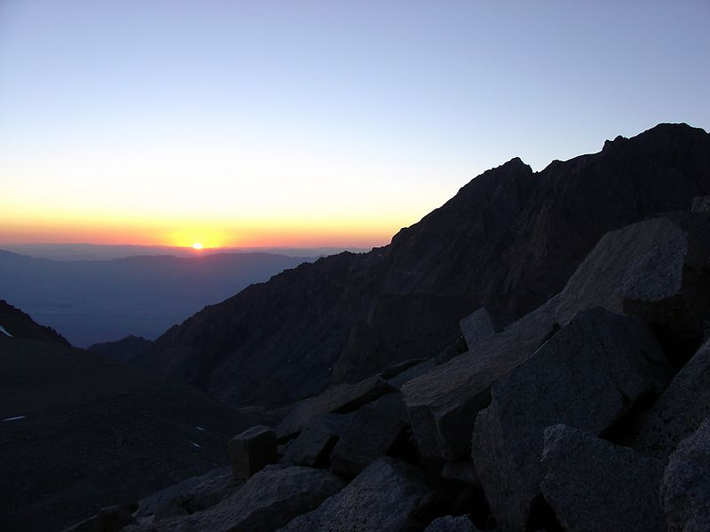 Sunrise as we start up the North Rib Route on Mt. Tyndall.