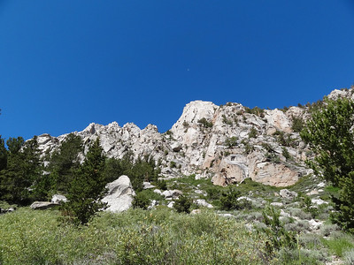 Thor Peak.  The moon is up there above it.