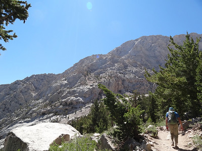Rick on the Main Trail.  The skyline is what we'll be climbing.