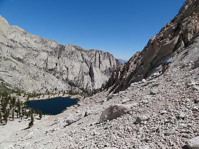 Lone Pine Lake from the worst of the route.  It's only a few hundred feet of scree / talus to the ramp to the ridge.