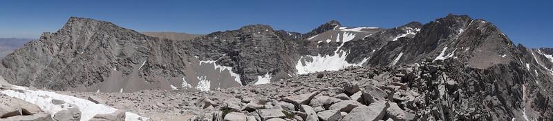 Candlelight Peak summit panorama.  Lone Pine Peak to Mt. Irvine.