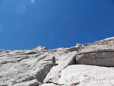 Crack climbing.