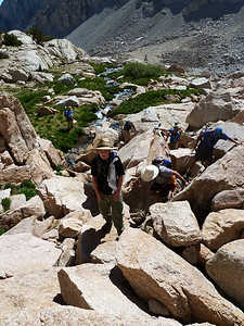 Scrambling up to Meysan Lake.