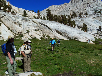 Consolidating before heading up the Meysan Lakes outlet stream.