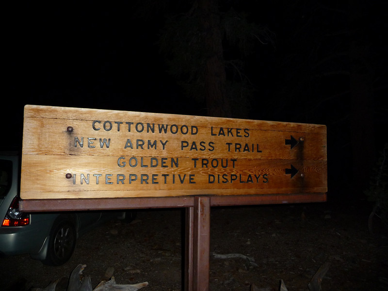Heading out of the Cottonwood Lake Trailhead.<br /> <br /> 2:09am.