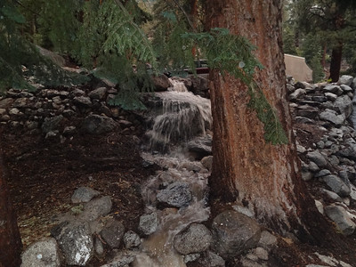 Another view of the new cascade behind the store.