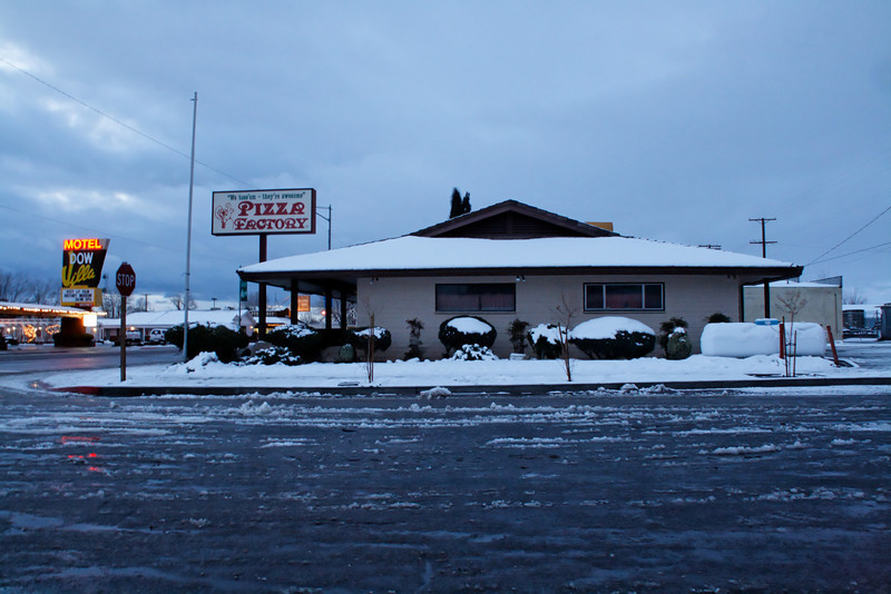 A rare sight.<br /> <br /> The Pizza Factory covered in snow.