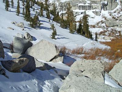 First sign of ski tracks.  I start to get jealous.