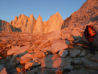 Moring Alpinglow on Mt. Whitney and the Needles.