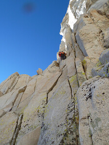 Myles climbing the East Face.