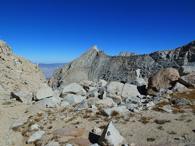 Thor Peak with Lone Pine Peak peaking over Pinnacle Ridge.