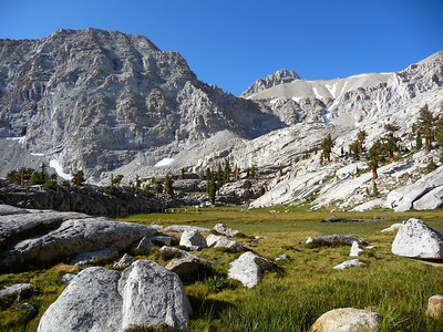 I headed across the meadow to the Meysan Lake outlet stream.