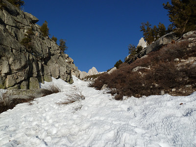 On the snow below LBSL.  Mt. Whitney comes in to view.