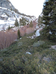 Looking up the NF drainage from the start of the Wall Route (north side).