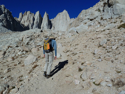 Bob on the approach to the Iceberg Lake headwall.