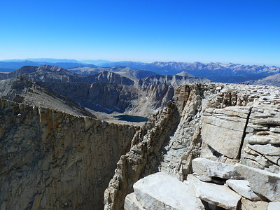 Mt. Whitney summit view.  Hitchcock Lakes.