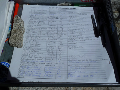 Mt. Whitney summit register entry.