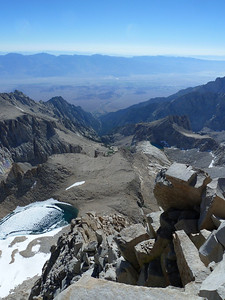 Mt. Whitney summit view.  The North Fork of Lone Pine Creek.