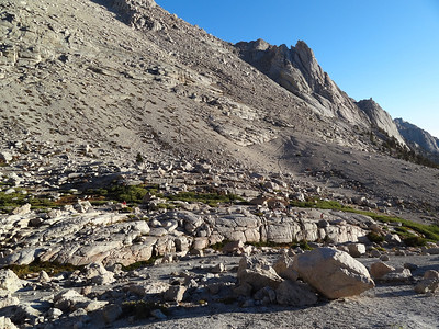 Looking back down to our camp as I head up for the long walk to Mt. Whitney.