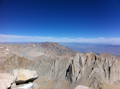 iPhone photo.  Mt. Whitney summit view.  Mt. Williamson (center) and Mt. Russell (right).