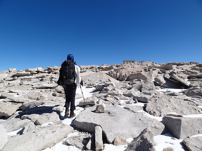 Approaching the Smithsonian Hut on Mt. Whitney.