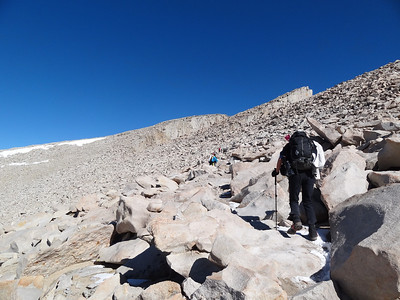 Tracie on the way up to the summit of Mt. Whitney.