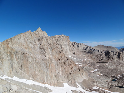 The Sierra crest from the 97 Switchbacks.  You can see the summit of Muir and Whitney.