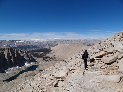 Tracie heading down towards the John Muir Trail junction.