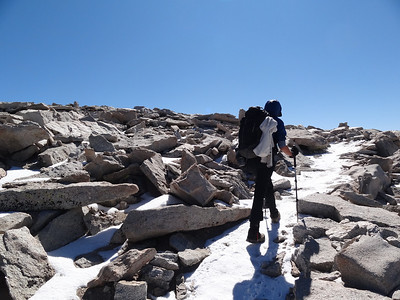 Tracie on the last leg to the summit of Mt. Whitney.