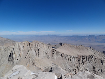 Mt. Whitney summit view.  Mt. Russell and Carillon.
