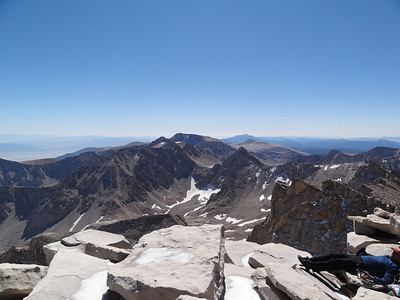 Mt. Whitney summit view.  Mt. Langley in the distance.
