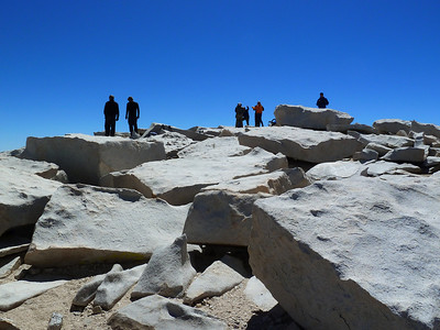 People on the summit of Mt. Whitney.