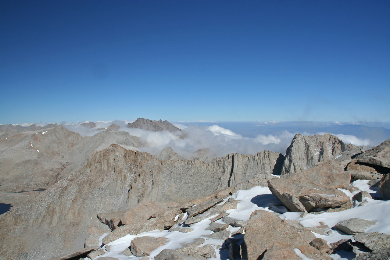 The vast expanse of the Sierra comes into view as you near the summit of Mt. Whitney.