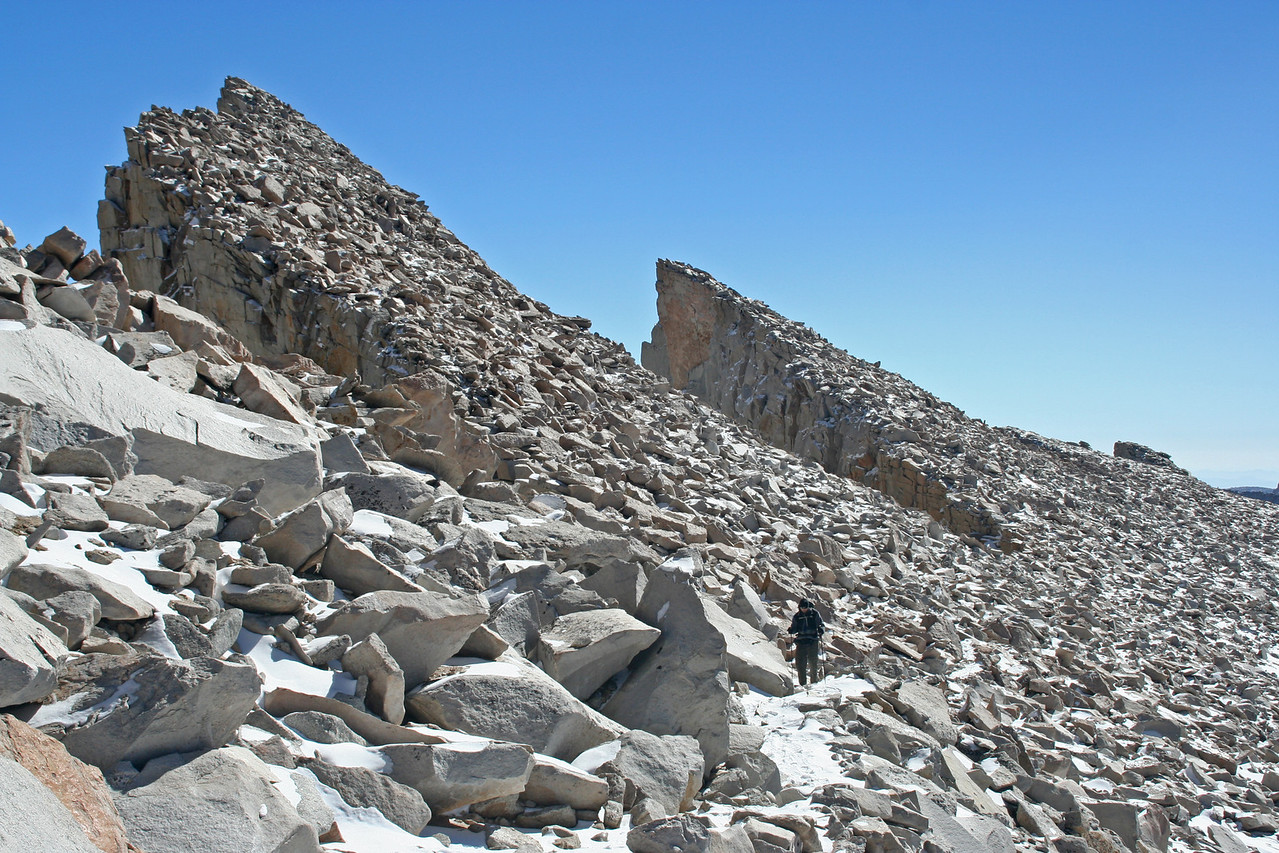 Chris approaching the shoulder of Mt. Whitney.