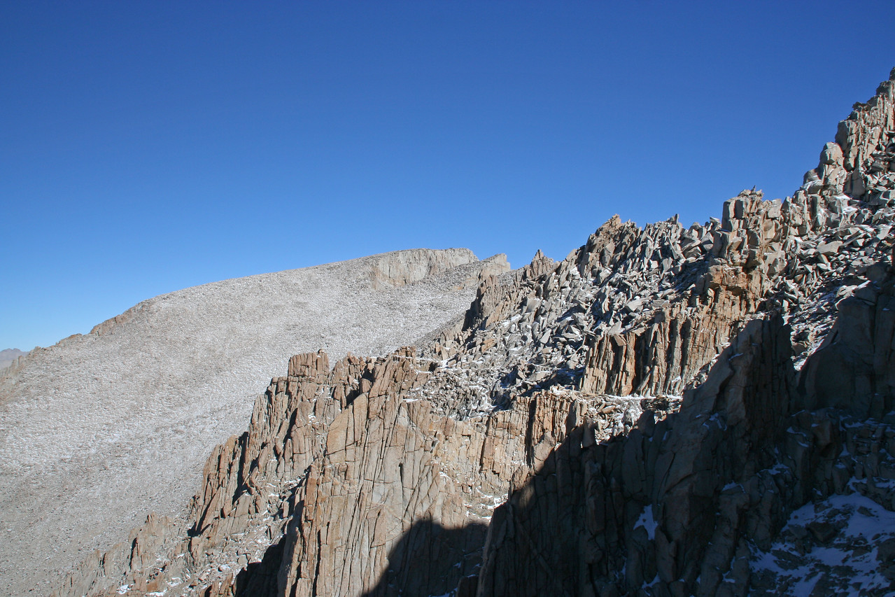 The summit of Mt. Whitney comes into view.