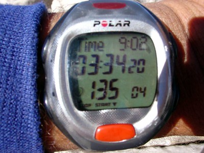 The time at the summit.  For those into stats, here are the splits:                        Lower Boy Scout Lake: running & split time 59:45.7 Upper Boy Scout Lake: runnig time 1:33:55, split time 34:09.7 Iceberg Lake: running time 2:16:49, split time 42:53.8 Summit: running time: 3:34:20, split time 1:17:10.8