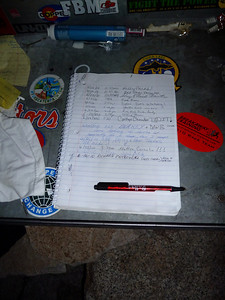 Bob Rockwell's notebook register on the summit of Mt. Whitney.