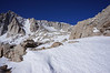 Looking up to the Sierra crest from just below Trail Camp.<br /> <br /> There are two climbers up above me.
