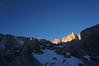 Moon over the Sierra crest.<br /> <br /> Some glow on Mt. Muir.