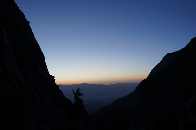 Looking down the Mountaineer's Route at dawn.