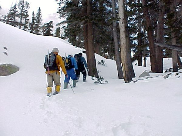 Bob Rockwell, Tom Sakai and Dan Bishop heading up for an attempt on Thor Peak.