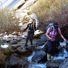 Carole and Ava crossing the North Fork of Lone Pine Creek.