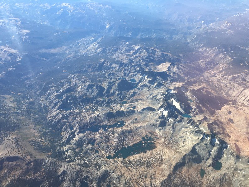 My hike started along the left hand side of this photo, taken from my window seat on United Flight 492, September 25th. I then turned left (right in this photo), and headed east into the further drainage of the three lower in this photo (see next photo for more details.