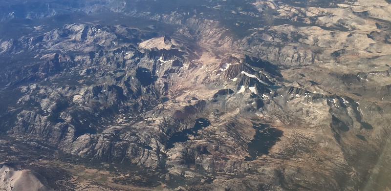 What a treat it was to see my route from my window seat on United Flight 492 a short 2+ weeks later. On Day One, I crossed the valley in the lower left, and headed up the drainage about two-thirds of the way on the left of this photo (the one with the distinctive notch, and only a smaller lake, in it).